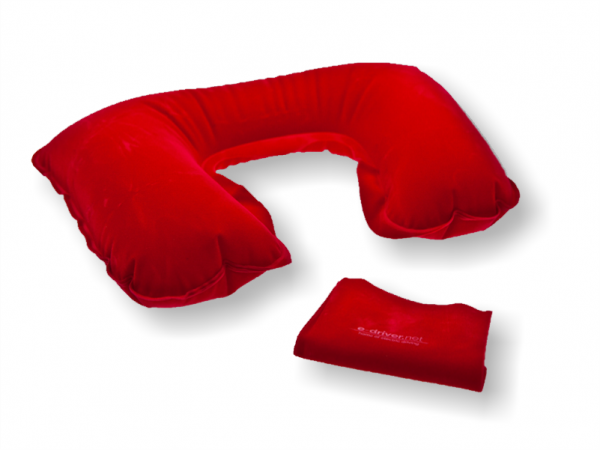 Inflatable neck support pillow | Red velour